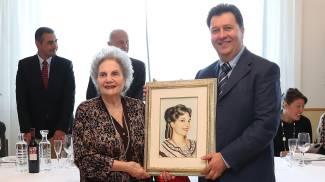 Elvidia Ferracuti con il pittore Mauro Mazziero che l'ha ritratta (Fotoprint)
