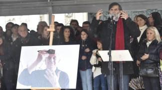 Jacopo Fo al funerale del padre Dario