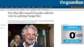 La svolta europeista di Grillo sul Guardian (Ansa)