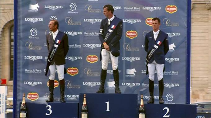 Il podio di Chantilly: da sinistra Rozier, Smolders, Brash (ph. LGCT Live TV)