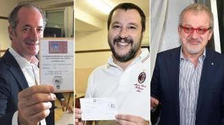 Referendum in Veneto e Lombardia: Zaia, Salvini e Maroni - Ansa