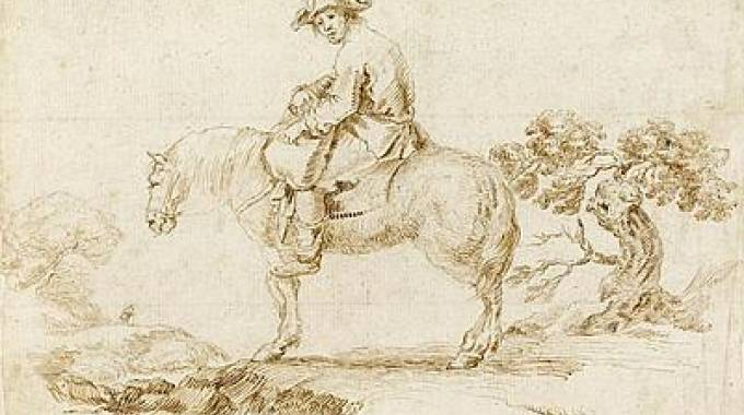 Stefano della Bella(1610 - 1664) A Man on a Horse in a Landscape