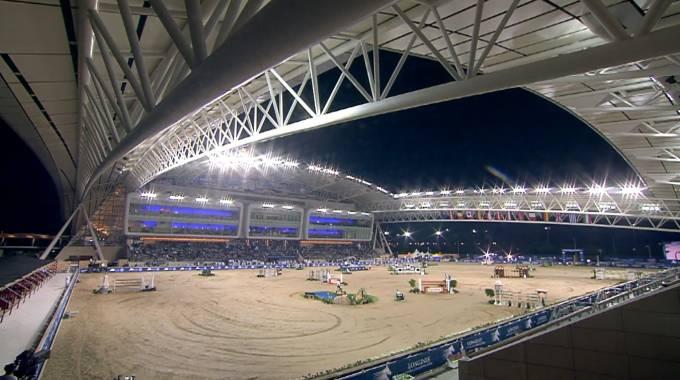 L'avveniristico stadio di Doha dedicato al salto ostacoli (ph. LGCT live TV)