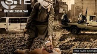 L'immagine del Papa decapitato da un jihadista (da Site)