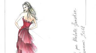 Sanremo, il bozzetto di Alberta Ferretti per l'abito di Michelle Hunziker