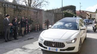 L'arrivo del feretro di Davide Astori a Coverciano