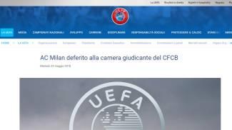Milan deferito, l'annuncio sul sito della Uefa (uefa)