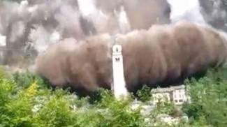 L'immagine del crollo che non ha compromesso torre campanaria e santuario