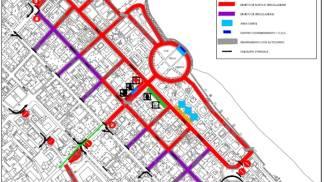 Planimetria: la zona rossa indica divieto di sosta, quella viole divieto di circolazione