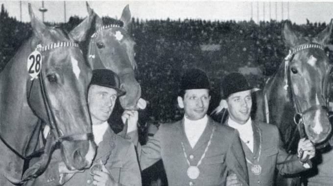 Da sinistra Thiedemann, Winkler e Schockemoehle: la Germania oro olimpico a Roma '60