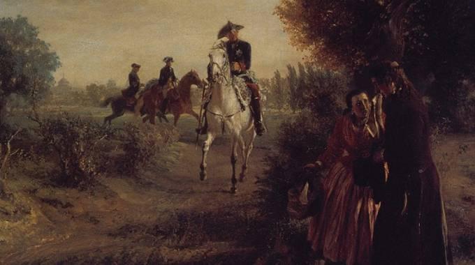 Ne La petizione, di Adolph von Menzel, il re monta Condé
