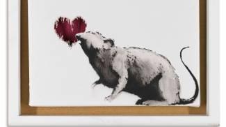 Uno dei celebri ratti di Bansky (Artificial Gallery, Antwerp)