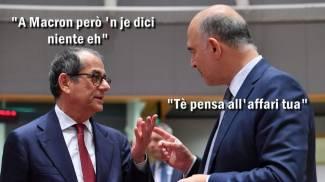Una vignetta presa dai social tra Tria e Moscovici