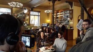 Le riprese al Caffè Meletti