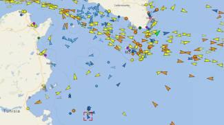 La localizzazione della nave Mare Jonio (Ansa)