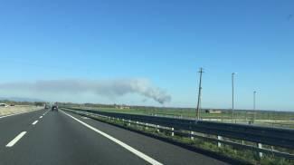 Incendio di Fucecchio visibile anche dall'autostrada A11