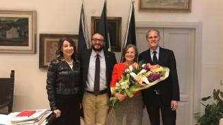 L'assessore Aquilio con il sindaco Biondi e l'ambasciatore francese Christian Masset