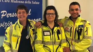 Rosolina, i soccorritori del neonato: Anna Tarabini, Giorgia Cavallaro e Marco Marangon