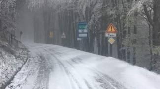 Neve lungo la provinciale passo Calla - Piancancelli nel Parco nazionale