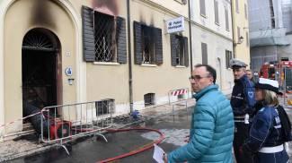 La sede dei vigili devastata (Fotofiocchi)