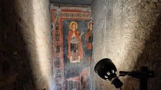 L'affresco raffigurante S. Alessio e Gesu Cristo (Ansa)