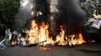 Barricate in fiamme a Primavalle (Ansa)