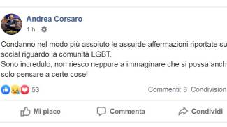 Il post del sindaco di Vercelli Andrea Corsaro