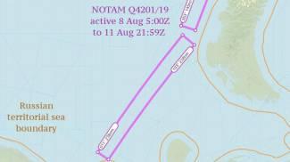 L'area su cui era stato emesso il 'Notam'