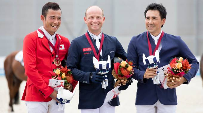 Michael Jung won the  the READY STEADY TOKYO Equestrian test event ©Fei/YNakanishi