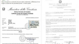 A sinistra, il certificato penale di Feniello. A destra il decreto di condanna per i fiori