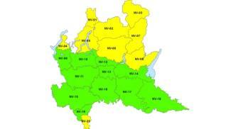 La mappa dell'allerta neve da Protezione Civile Lombardia