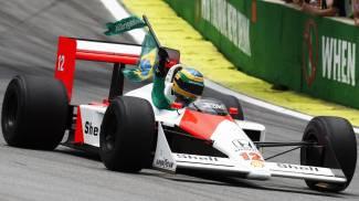 Bruno Senna, nipote di Ayrton, alla guida della McLaren MP4/4 (Ansa)