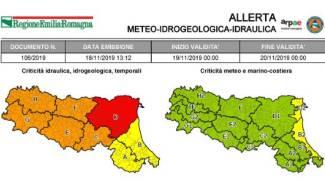 Emilia Romagna, l'allerta meteo per il 18 novembre 2019