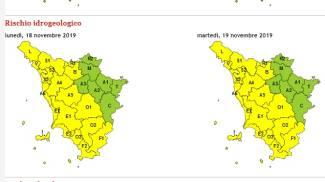 La mappa dell'allerta gialla valida per tutta la giornata di martedì 19 novembre