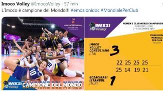 Il tweet della Imoco Volley Conegliano che celebra la vittoria
