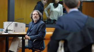 Davide Vannoni durante il processo Stamina a Torino (Ansa)