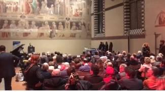 Un momento dell'incontro al cenacolo di Santa Croce