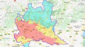 La mappa della qualità dell'aria dal sito di Arpa Lombardia