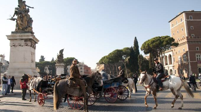 Botticelle e butteri a cavallo in piazza Venezia a Roma