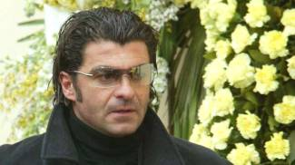 Alberto Tomba ai funerali di Marco Pantani (Ansa)