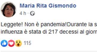 Il post su Facebook di Maria Rita Sigismondo