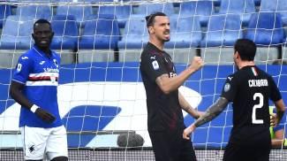 Milan, quattro gol alla Samp. L'esultanza di Ibrahimovic (Ansa)
