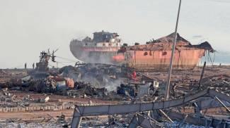 Il porto di Beirut dopo le esplosioni (Ansa)