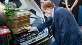 Michele Mirabella, ai funerali di Sergio Zavoli (Ansa)