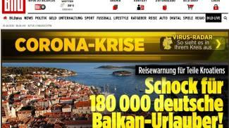 """Bild, isole croate zona rossa notizia: """"shock per 180.000 tedeschi"""""""