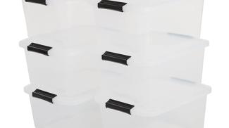 Iris Ohyama - set di 6 contenitori impilabili in plastica trasparente su amazon.it