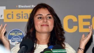 Susanna Ceccardi durante la conferenza stampa dopo l'esito del voito