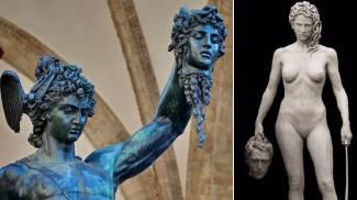 A sinistra la scultura di Benvenuto Cellini, a destra quella di New York