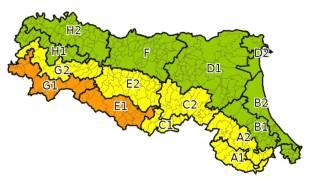 Le zone dell'allerta meteo in Emilia Romagna (mappa ArpaEr)
