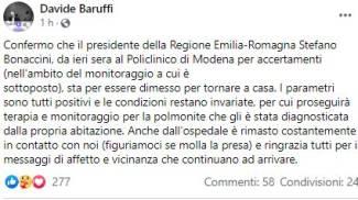 Bonaccini è tronato a casa e ringrazia per l'affetto: il post di Davide Baruffi